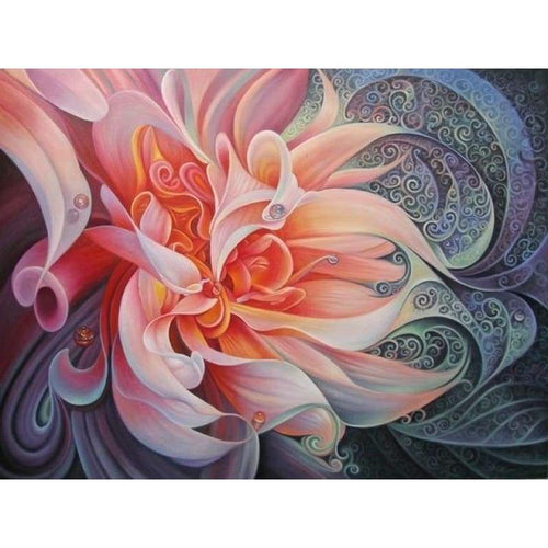 5D Diamond Painting Kits Beautiful Pink Colorful Abstract Flower - 4