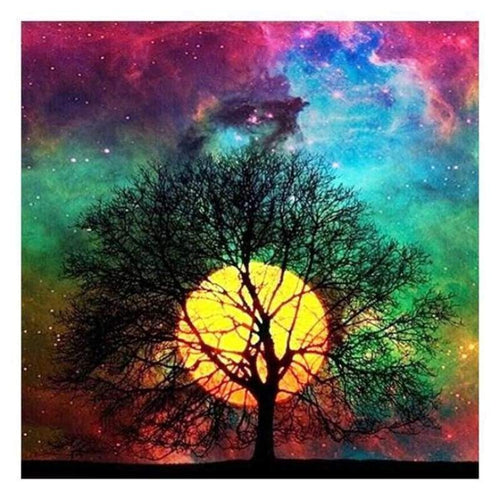 5D Diamond Painting Kits Fantasy Sky Pretty Colourful Tree Moon