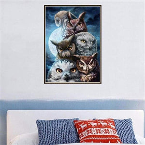 5D DIY Diamond Painting Kits Serious Owls Family - 3
