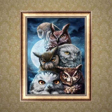 Load image into Gallery viewer, Full Drill - 5D DIY Diamond Painting Kits Serious Owls Family - NEEDLEWORK KITS