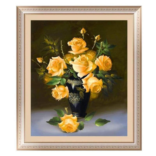 5D DIY Diamond Painting Kits Yellow Roses in Vase - 3