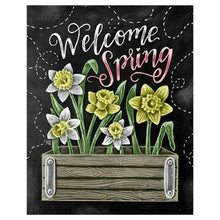Load image into Gallery viewer, Full Drill - 5D DIY Diamond Painting Kits Spring Flowers Blackboard - NEEDLEWORK KITS