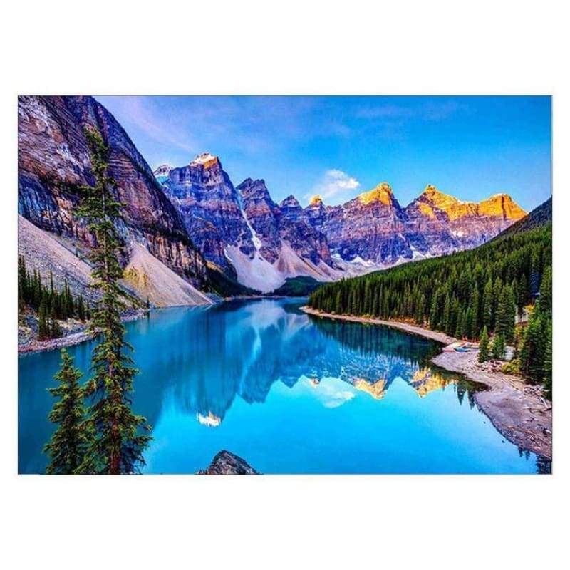 Full Drill - 5D DIY Diamond Painting Kits Popular Wall Decoration Mountain Blue Lake - NEEDLEWORK KITS
