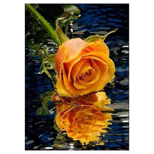 5D DIY Diamond Painting Kits Pretty Gold Rose With Water Reflection - 5