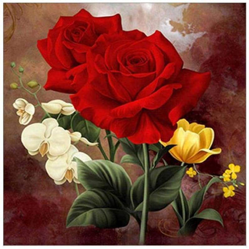 5D DIY Diamond Painting Kits Pretty Red Rose Flowers