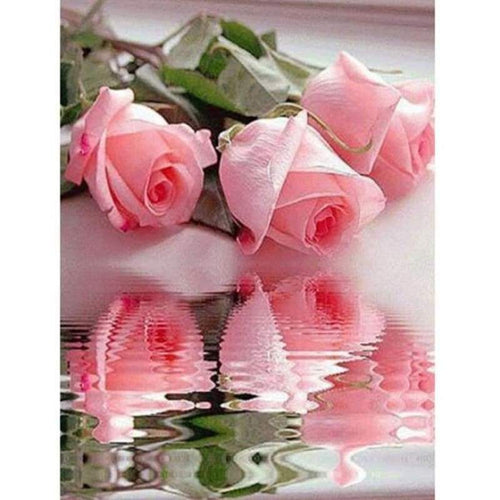 5D DIY Diamond Painting Kits Pretty Pink Roses With Reflection - 4