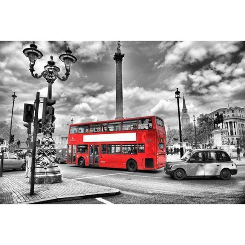 5D DIY Diamond Painting Kits Red Bus in the Black and White World - Z5