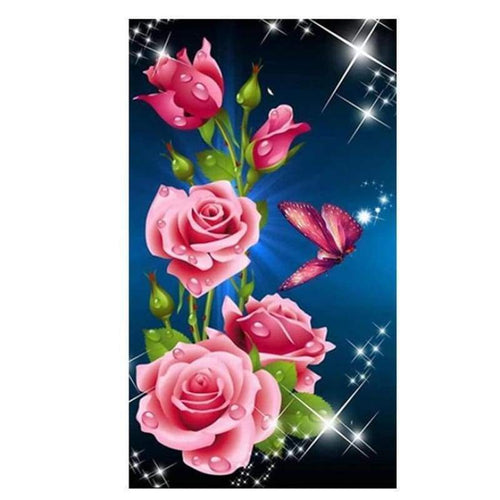 5D DIY Diamond Painting Kits Romantic Roses and Butterflies - 5