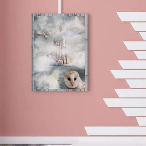 5D DIY Diamond Painting Kits Romantic White Castle And Owl in the Fog - 5