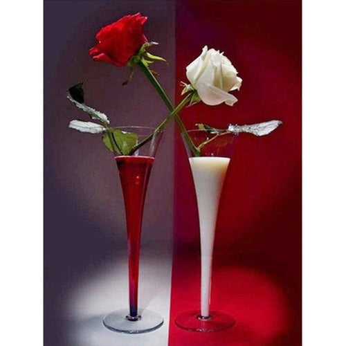 5D DIY Diamond Painting Kits Wine Red and White Roses - Z3