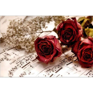 Full Drill - 5D DIY Diamond Painting Kits Rose Flower Sheet Music - NEEDLEWORK KITS