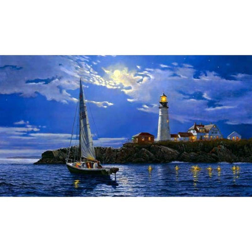5D DIY Diamond Painting Kits Sailing Boat Lighthouse - Z5