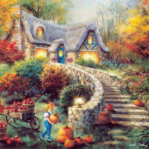5D DIY Diamond Painting Kits Scenic Cottage Halloween