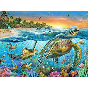 5D DIY Diamond Painting Kits Sea Turtle Sunset - Z3