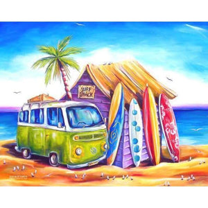 Full Drill - 5D DIY Diamond Painting Kits Seaside Holiday Bus - NEEDLEWORK KITS
