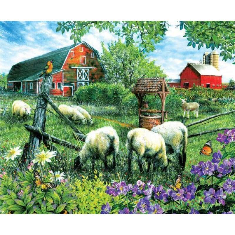 Full Drill - 5D DIY Diamond Painting Kits Sheeps Manor - NEEDLEWORK KITS