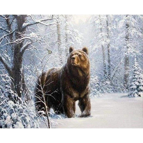 5D DIY Diamond Painting Kits Snow Forest Bear Scene - Z5