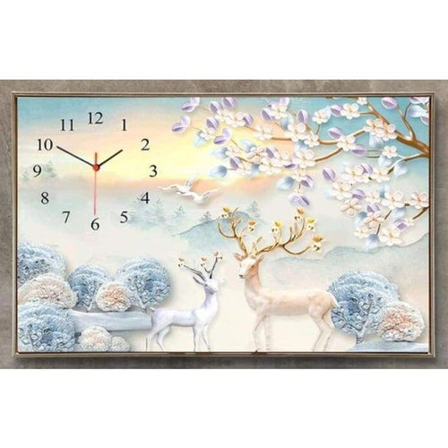 5D DIY Diamond Painting Kits Wall Flower Deer Clock - 4
