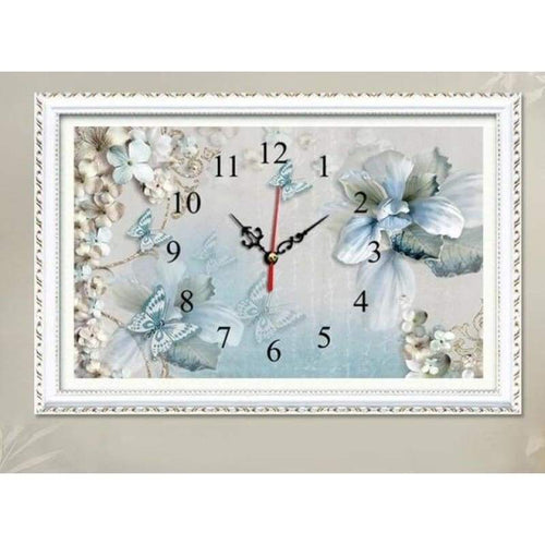 5D DIY Diamond Painting Kits Wall Flower Clock - 4