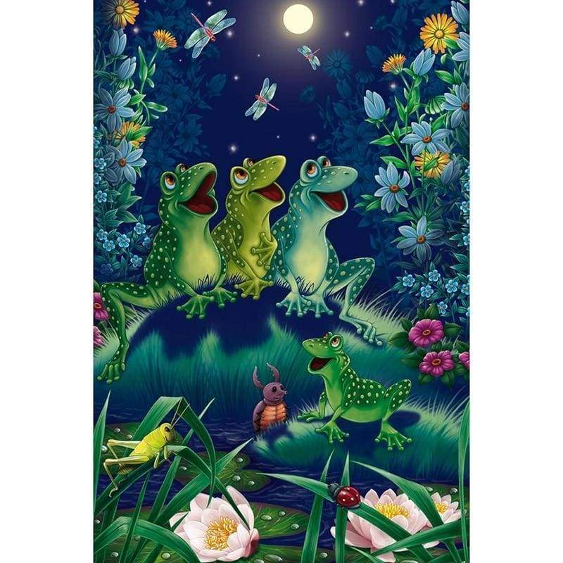 5D DIY Diamond Painting Kits Cartoon Happy Frogs in the Grass - 5
