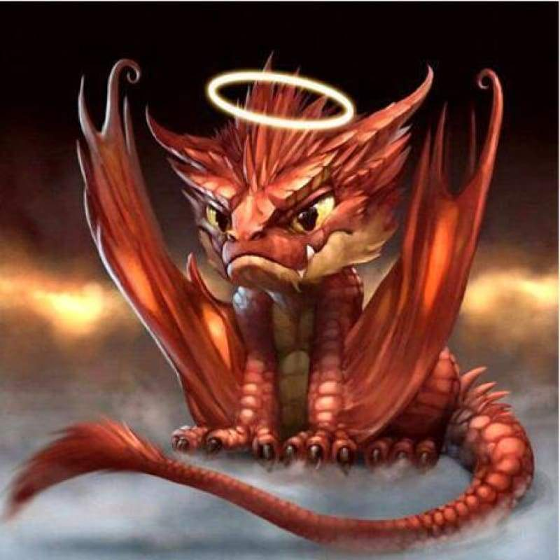 Full Drill - 5D DIY Diamond Painting Kits Special Red Dragon Baby Angel - NEEDLEWORK KITS