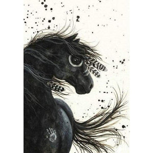 Full Drill - 5D DIY Diamond Painting Kits Visional Black Horse - NEEDLEWORK KITS