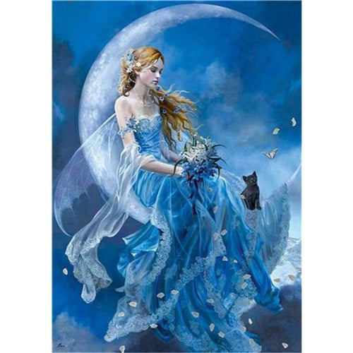 5D DIY Diamond Painting Kits Girl and her Cat By the Moon - 4