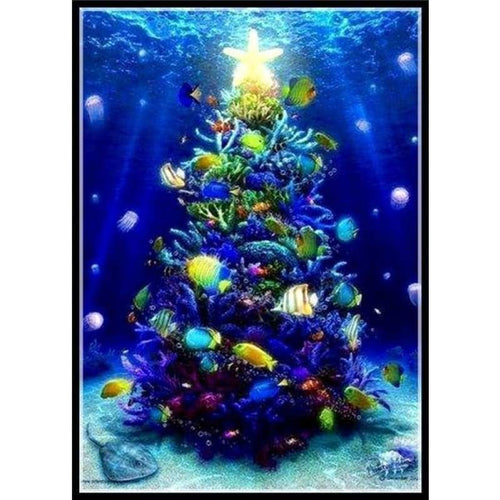 5D DIY Diamond Painting Kits Christmas Tree in the River - 4