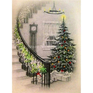 Full Drill - 5D DIY Diamond Painting Kits Visional Christmas Tree By the Stairs - NEEDLEWORK KITS