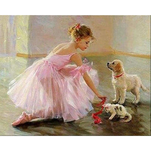 Full Drill - 5D Diy Diamond Painting Kits Dancer Girl WIth Dog and Cat - NEEDLEWORK KITS