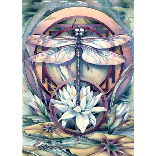 5D Diy Diamond Painting Kits Colorful Dragonfly on the Lotus - 3