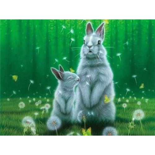 5d Diy Diamond Painting Kits Cute Rabbits and her Kid Dandelion - 4