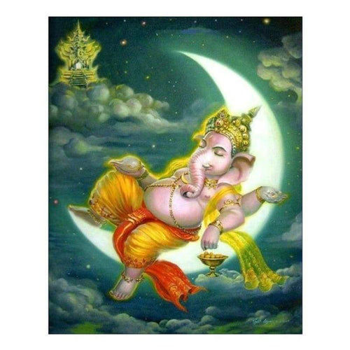 5D DIY Diamond Painting Kits Hinduism Statue lying on the Moon - 333