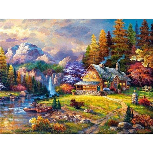 5D DIY Diamond Painting Kits Dream House in the Forest - 3