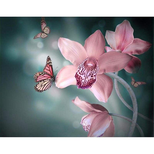 5D DIY Diamond Painting Kits Butterfly on the Pink Flower - 3