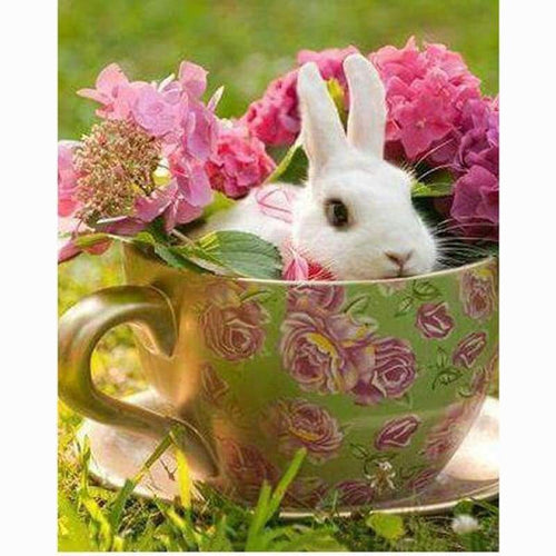 5D DIY Diamond Painting Kits Special Rabbit in the Flower Cup - 3