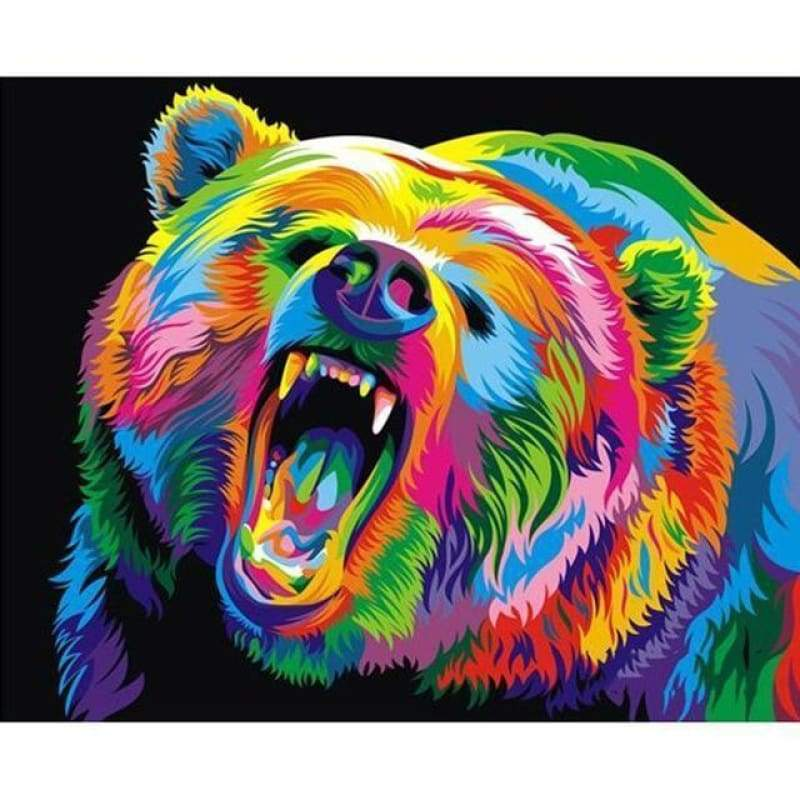 5D DIY Diamond Painting Kits Special Watercolor Colorful Bear Rage and Roar - 3