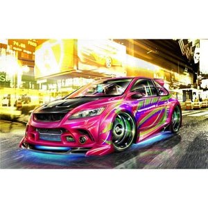 Full Drill - 5D DIY Diamond Painting Kits Special Pink Sports Car - NEEDLEWORK KITS