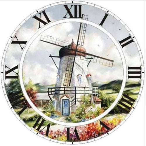 5D DIY Diamond Painting Kits Special Windmill Clock