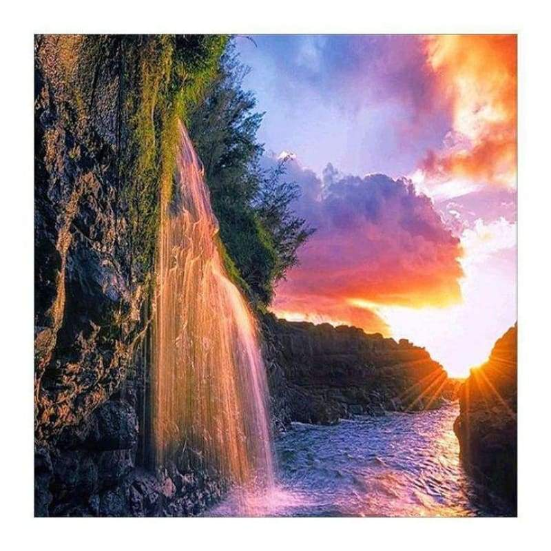 Full Drill - 5D DIY Diamond Painting Kits Spectacular Waterfall Sunset View - NEEDLEWORK KITS