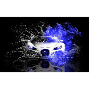 Full Drill - 5D DIY Diamond Painting Kits Sports Car Water and Fire - NEEDLEWORK KITS