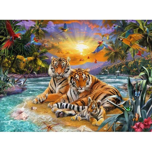 5D DIY Diamond Painting Kits Tiger Family Bathing in the Sun - 3