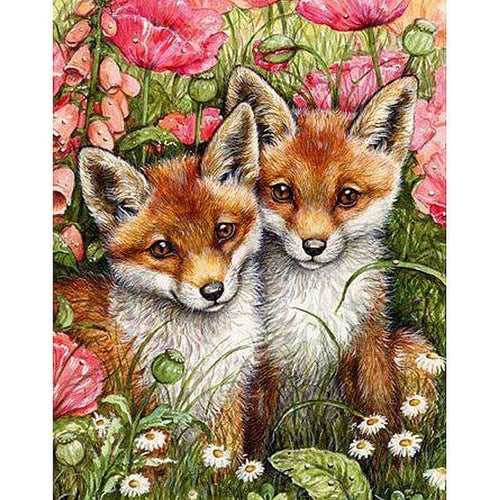 5D DIY Diamond Painting Kits Two Foxes Baby Flowers - Z3