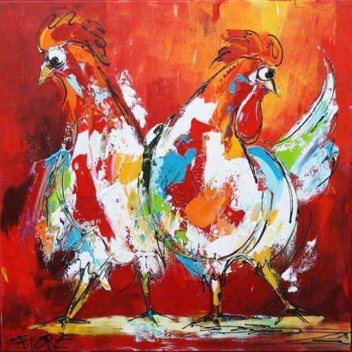 Full Drill - 5D Diy Diamond Painting Kits Watercolor Dancing Cock - NEEDLEWORK KITS