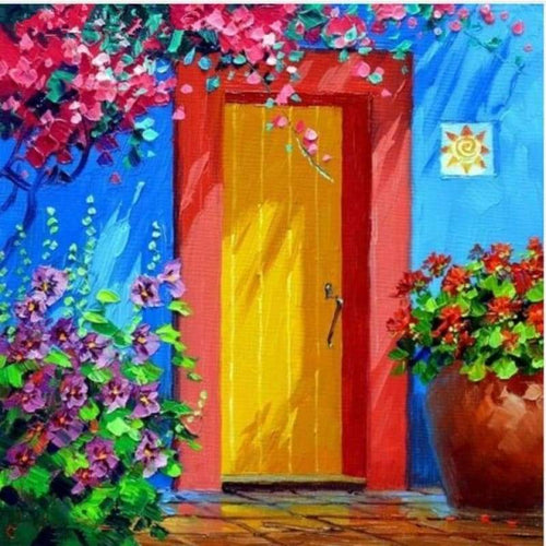 Full Drill - 5D DIY Diamond Painting Kits Watercolor New Arrival Garden Door - NEEDLEWORK KITS