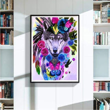 Load image into Gallery viewer, Full Drill - 5D DIY Diamond Painting Kits Watercolor Wolf Chief QB6638 - NEEDLEWORK KITS