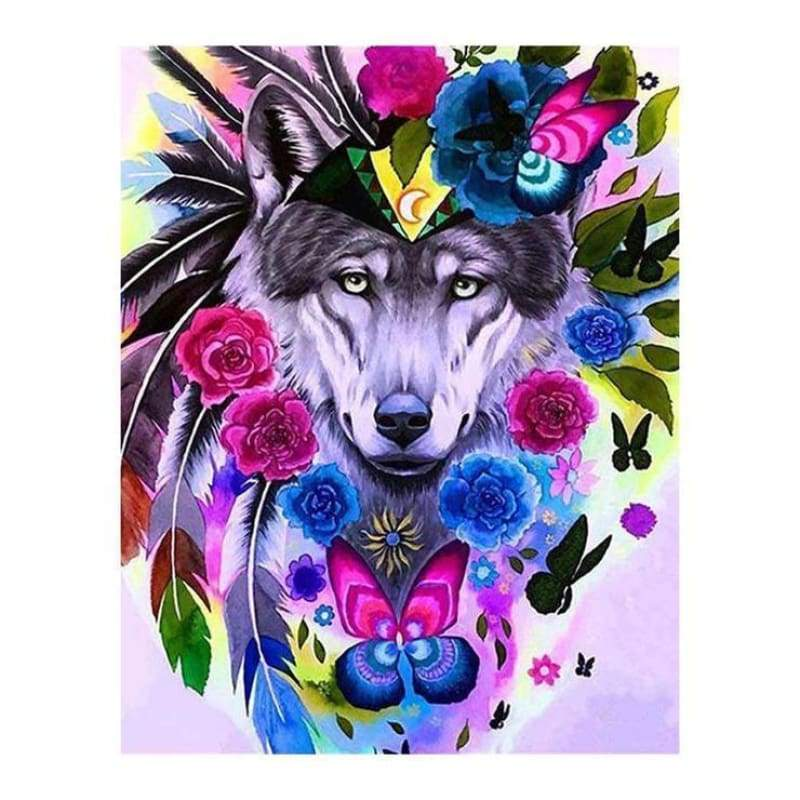 Full Drill - 5D DIY Diamond Painting Kits Watercolor Wolf Chief QB6638 - NEEDLEWORK KITS
