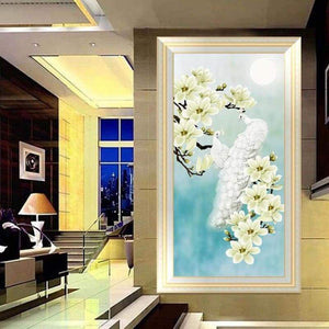 5D DIY Diamond Painting Kits White Peacock and Yellow Flower AF9074 - 9