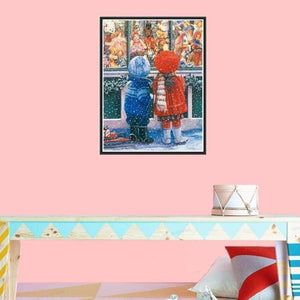 Full Drill - 5D DIY Diamond Painting Kits Winter Boy And Girl Portrait - NEEDLEWORK KITS