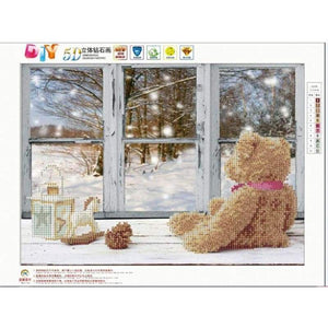 Full Drill - 5D DIY Diamond Painting Kits Winter Christmas Window Bear - NEEDLEWORK KITS